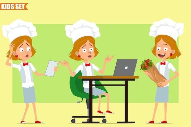Desenho animado liso engraçado chef cozinheiro menina personagem em uniforme branco e chapéu de padeiro. criança trabalhando no laptop e carregando shawarma de kebab.