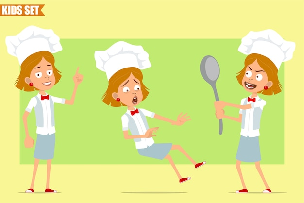 Desenho animado liso engraçado chef cozinheiro menina personagem em uniforme branco e chapéu de padeiro. garoto segurando uma colher grande e caindo.