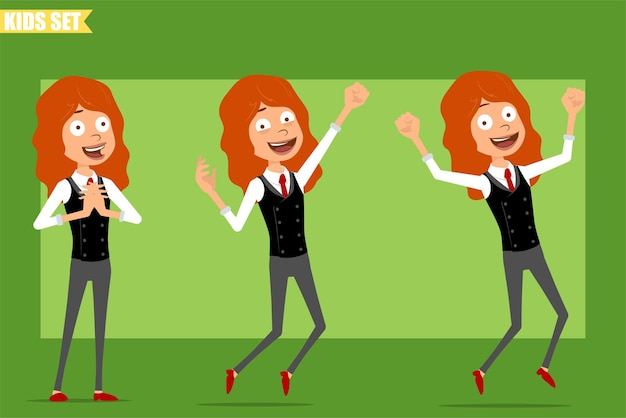 Desenho animado liso engraçado ruivinha personagem de terno com gravata vermelha. criança feliz, surpresa, pulando e dançando. pronto para animação. isolado sobre fundo verde. conjunto.