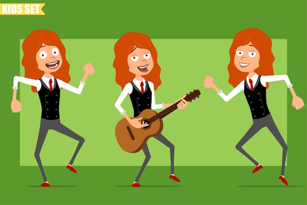 Desenho animado liso engraçado ruivinha personagem de terno com gravata vermelha. criança pulando, dançando e tocando rock na guitarra. pronto para animação. isolado sobre fundo verde. conjunto.