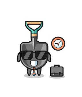 Desenho animado mascote de pá como empresário, design bonito