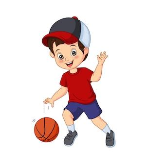 Desenho animado menino bonito jogando basquete