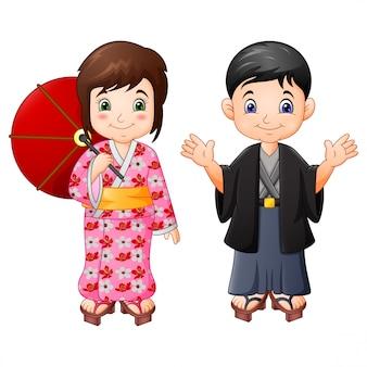 Desenho animado menino e menina japonesa em uniforme tradicional