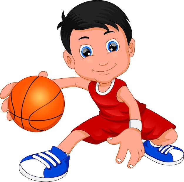 Desenho animado menino jogando basquete