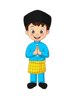 Desenho animado menino muçulmano cumprimentando ilustração de salaam