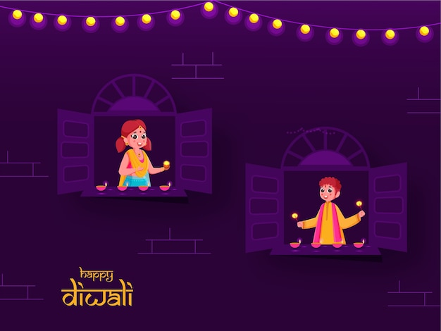 Desenho animado menino segurando faíscas e menina decorada janela de lâmpadas de óleo acesas na ocasião do festival de diwali.
