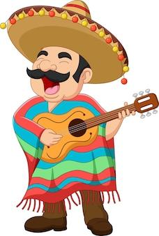 Desenho animado mexicano tocando violão e cantando