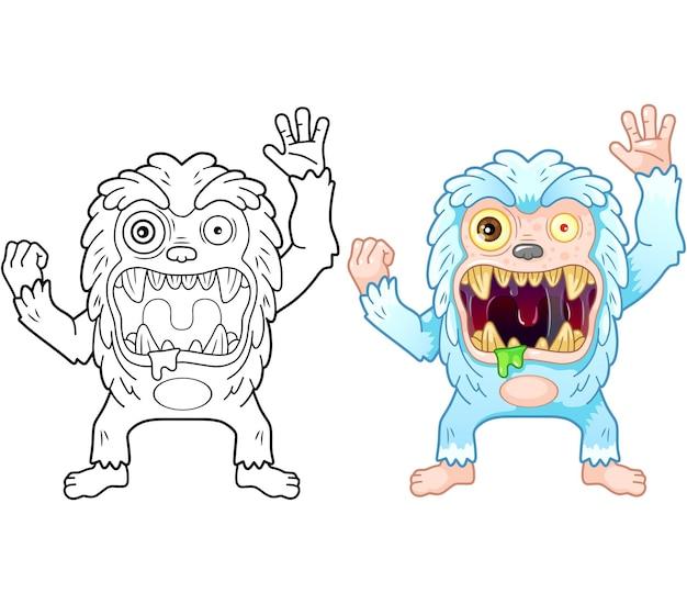 Desenho animado monstro bigfoot