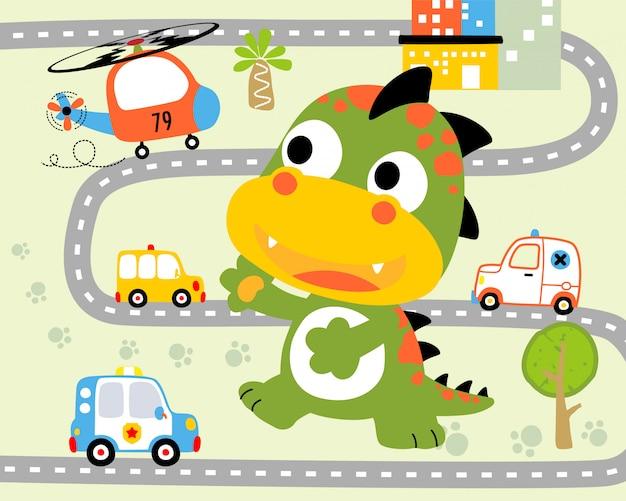 Desenho animado monstro engraçado na estrada da cidade