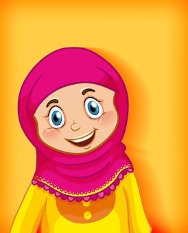 Desenho animado muçulmano feminino no fundo gradiente de cor do personagem