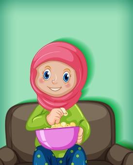 Desenho animado muçulmano feminino no personagem comendo pipoca