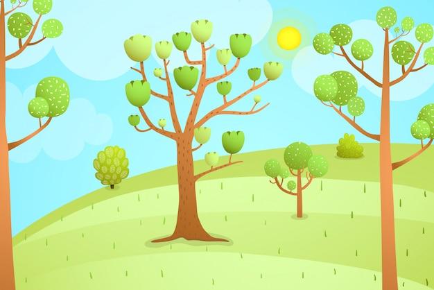 Desenho animado natureza paisagem vazio