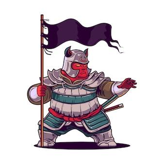 Desenho animado o mascote guerreiro