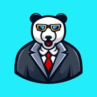 Desenho animado panda usando óculos e gravata
