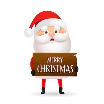 Desenho animado papai noel segurando bandeira de feliz natal
