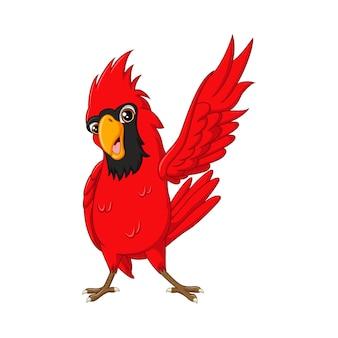 Desenho animado pássaro cardeal feliz