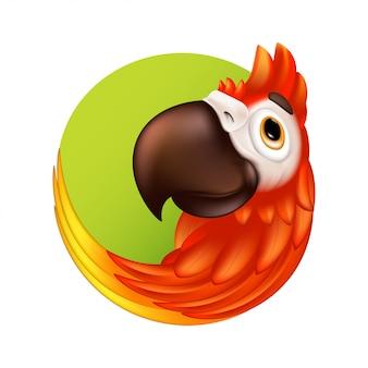 Desenho animado pássaro tropical logotipo ou etiqueta. papagaio bonito ara com bico grande.