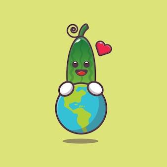 Desenho animado pepino fofo abraçando a terra