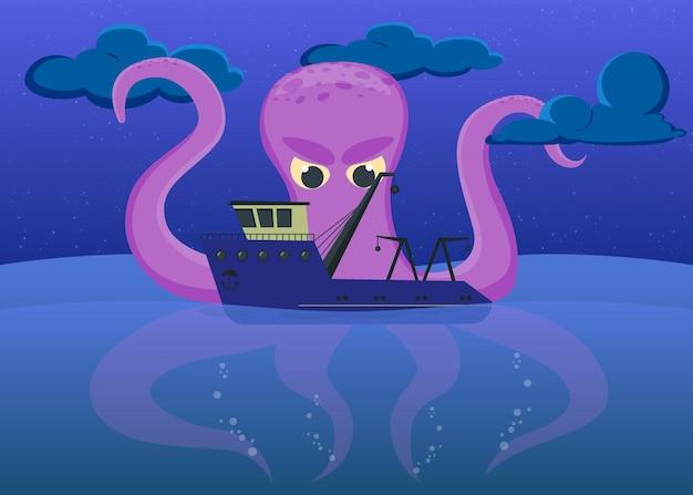 Desenho animado pequeno barco de pesca e polvo gigante no mar à noite. ilustração plana.