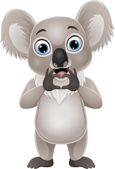 Desenho animado pequeno coala fazendo gesto de mão e coração