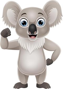 Desenho animado pequeno coala forte isolado no branco