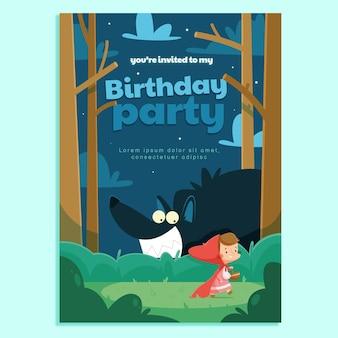 Desenho animado pequeno convite de aniversário da capa de equitação vermelha