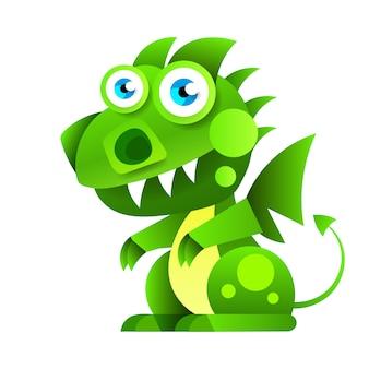Desenho animado pequeno dragão sentado verde.