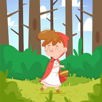 Desenho animado pequeno ilustração do conto do capuz vermelho