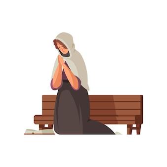 Desenho animado pobre mulher medieval ajoelhada perto de um banco de madeira