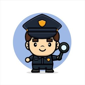 Desenho animado policial fofo segurando uma lupa