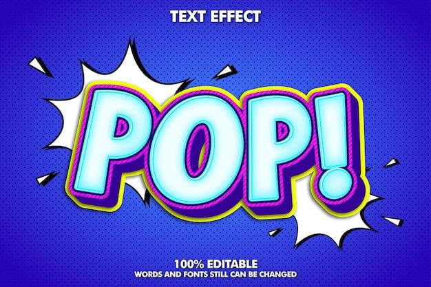 Desenho animado pop art com efeito de texto editável e desenho retro dos desenhos animados