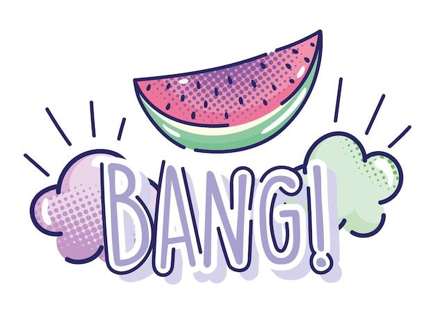 Desenho animado pop art, melancia fruta bang nuvens design de meio-tom cômico