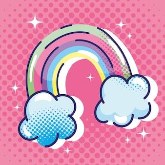 Desenho animado pop art, nuvens de arco-íris, sonho, fantasia cômica, design de meio-tom