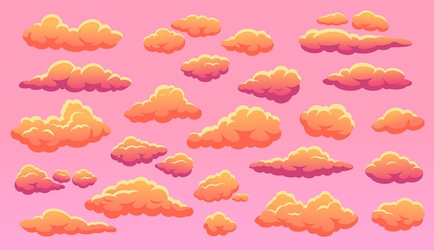 Desenho animado, pôr do sol, nuvens laranjas fofas no céu, lindo rosa pôr do sol, conjunto de vetores de nuvens