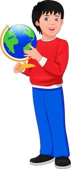 Desenho animado posando segurando um globo