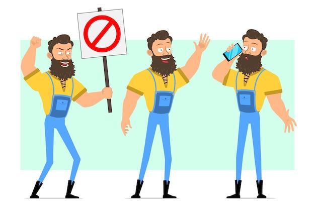 Desenho animado, posturas fortes de lenhador barbudo