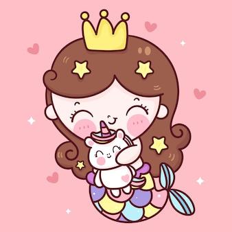 Desenho animado princesa sereia fofa abraçando boneca unicórnio ilustração kawaii