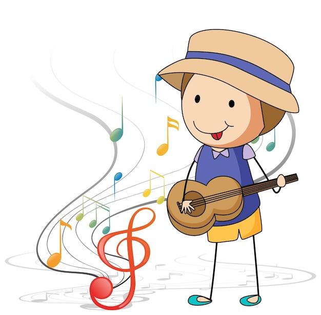 Desenho animado rabisca um menino tocando violão com símbolos de melodia