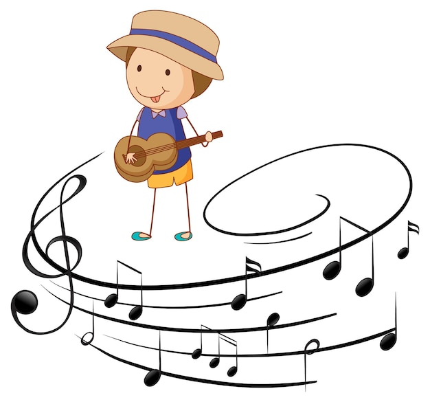 Desenho animado rabisca um menino tocando violão ou ukulele com símbolos de melodia