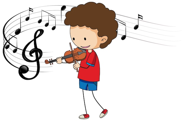 Desenho animado rabisca um menino tocando violino com símbolos de melodia em fundo branco