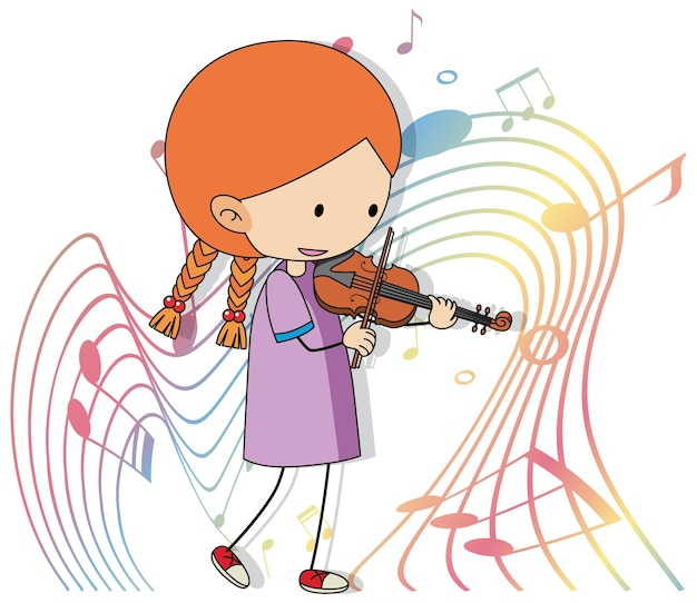 Desenho animado rabisca uma menina tocando violino com símbolos de melodia em fundo branco