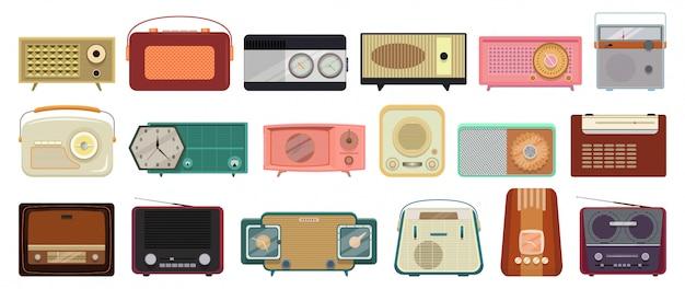Desenho animado rádio definir ícone. ilustração vintage sem fio.