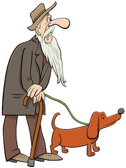 Desenho animado sênior andando com personagens de quadrinhos de cachorro