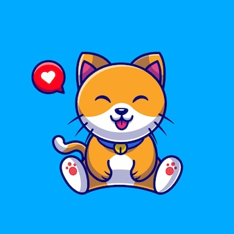 Desenho animado sentado de gato fofo