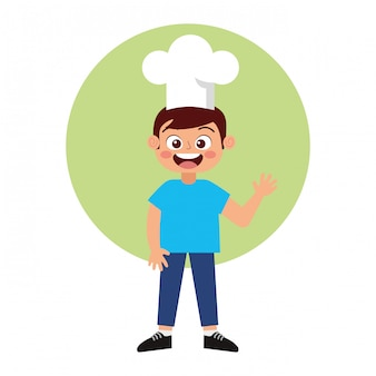 Desenho animado sorridente do chef criança feliz