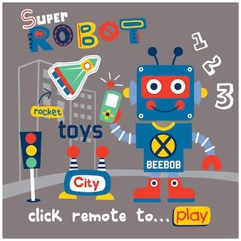 Desenho animado super robótico na cidade