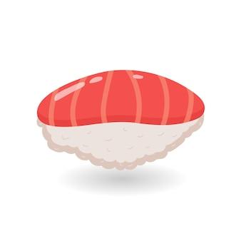 Desenho animado sushi nigiri com arroz e salmão