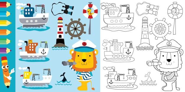 Desenho animado tema vela, navios de carga com leão engraçado
