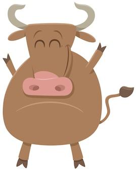 Desenho animado touro fazenda animal personagem