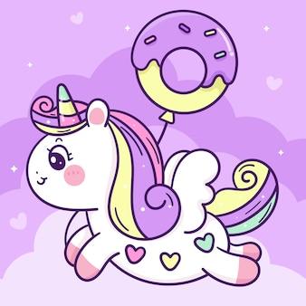 Desenho animado unicórnio com balão donut lindo pônei em céu pastel de animal kawaii